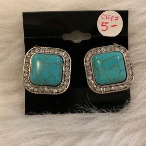 Turquoise like clip Earrings